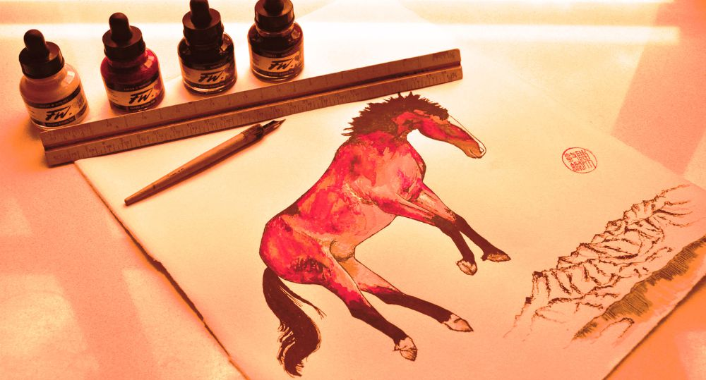 Picture of a horse with inks by Chantown Creative